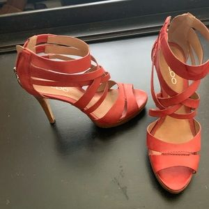 Coral strappy high heel sandals